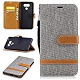 LG G6 Case,Yilin Gray Denim wallet Case with Kickstand and flip cover for LG G6 H870 H871 H872 H873 H870K LS993 US997