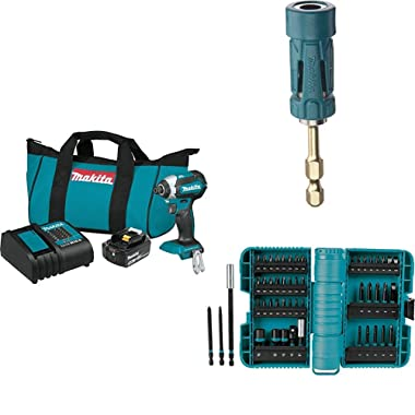 Makita XDT131 18V LXT Lithium-Ion Brushless Cordless Impact Driver Kit (3.0Ah) with B-35097 Impact GOLD Ultra-Magnetic Torsion Insert Bit Holder with A-98348 ImpactX 50 Pc. Driver Bit Set