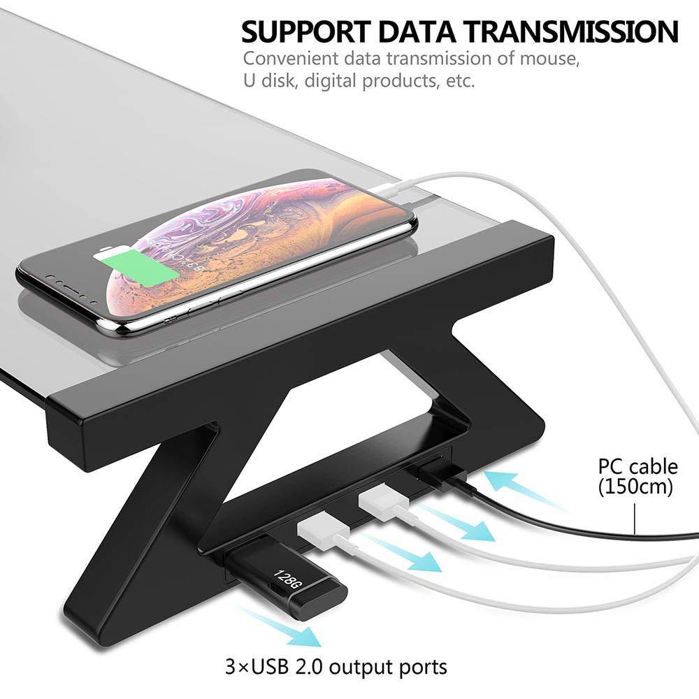 Soporte para Monitor de Vidrio Templado Soporte para Monitor de Ordenador port/átil y elevadores con 4 Puertos USB Womdee Soporte para Escritorio de Ordenador para la Oficina y el hogar