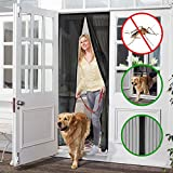 "Magnetic Screen Door, OMore Heavy Duty Full Frame Velcro, Fits Door Openings up to 34""x82"" MAX, Keep Bugs Out Let Fresh Air In with Top-to-Bottom Seal - Black"