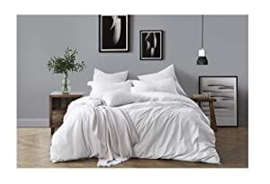 Swift Home 100% Cotton Washed Yarn Dyed Chambray Duvet Cover & Sham Bedding Set, Ultra-Soft Luxury & Natural Wrinkled Look – Full/Queen, Ivory