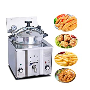 Enshey 2400W Electric 16L Pressure Fryer Cooking Countertop Timer Deep Fryer Professional Tabletop Restaurant Kitchen Frying Machine Commercial Countertop Fryer Restaurant Frying Fish Chicken