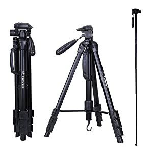Tripod - Camopro 70 Inches Professional Digital SLR Camera Aluminum Tripod Monopod - Travel Portable Tripod for SLR DSLR Canon Nikon Sony DV Video with Carry Bag Complete Tripod Units at amazon