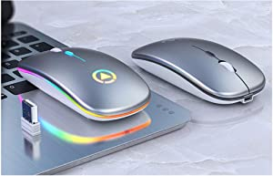 PTHZ 2.4G Wireless Mouse/Bluetooth Portable Mouse Ultra-Thin Wireless Mouse DPI 1000/1200/1600 Adjustable for Laptop/Desktop/Smart TV,Metal Gray
