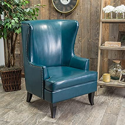 Jameson Tall Wingback Teal Blue Leather Club Chair