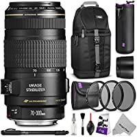 Canon EF 70-300mm f/4-5.6 IS USM Lens w/ Essential Bundle – Includes: DSLR Sling Backpack, Monopod, Altura Photo UV-CPL-ND4, Neoprene Lens Pouch, Camera Cleaning Set
