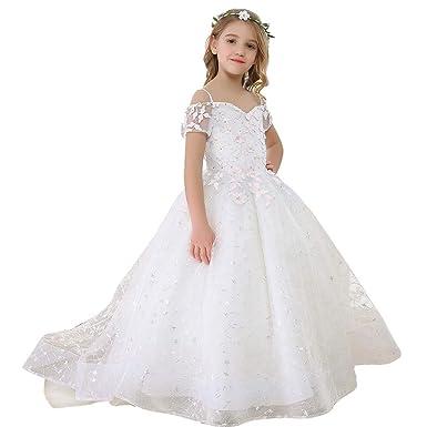 bbeb3ed870a48 Amazon.com: Bow Dream Elegant Flower Girl Dress Lace Beading Wedding ...