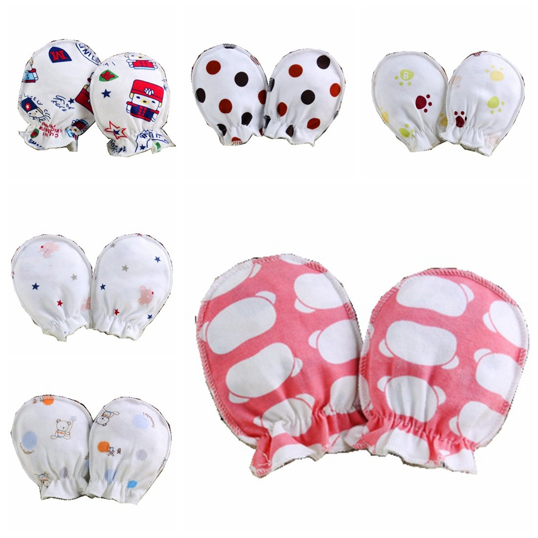 10Pairs Newborn Infant Soft Cotton Boy Girl Handguard Anti Scratch Mitten Gloves