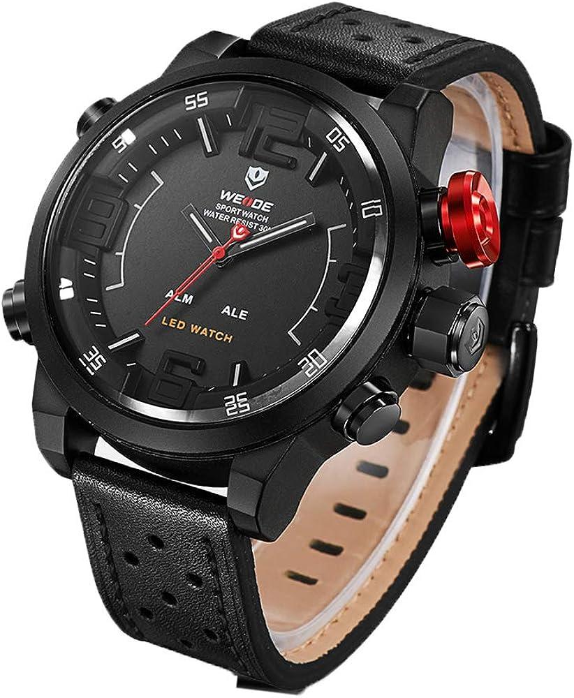 WEIDE Men s 3 Time Zone Analog Watch LCD Display Sport Digital Wrist Watch for Men Big Case Calendar Date Window Quartz Leather Band with Gift Box