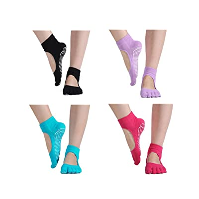 YONGQIANGX Yoga Socks - Full Toe, Non Slip, Pilates Best Socks with Grip for Women, 4 Pairs