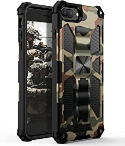 YVPro iPhone 8 Plus Case iPhone 7 Plus Case iPhone 6 Plus Case iPhone 6s Plus Case Man Boys Military Sturdy Kickstand Shockproof Protective Camo Cover Camouflage
