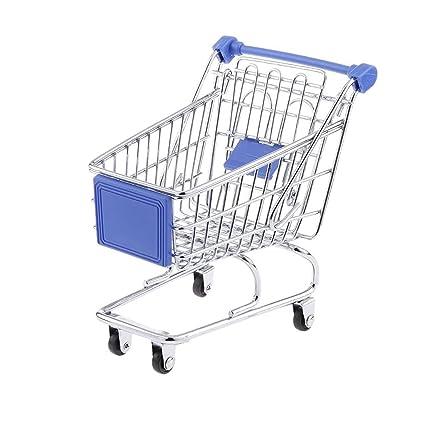 kimberleystore Mini Carrito de la Compra supermercado Carrito con Ruedas w/Ruedas Asiento (Azul