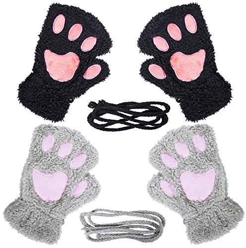 Loritta 2 Pairs Womens Fingerless Cat Paw Gloves Winter Faux Fur Cute Kitten Mittens -