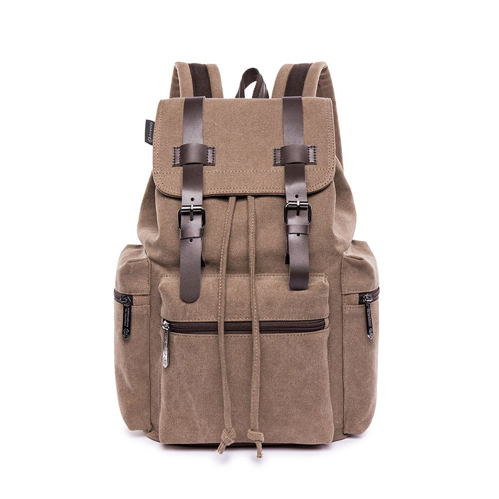 high-quality Canvas Laptop Backpack Tear Resistant Schoolbag Travel Knapsack Large Rucksack for Girl Men Women (Coffee)