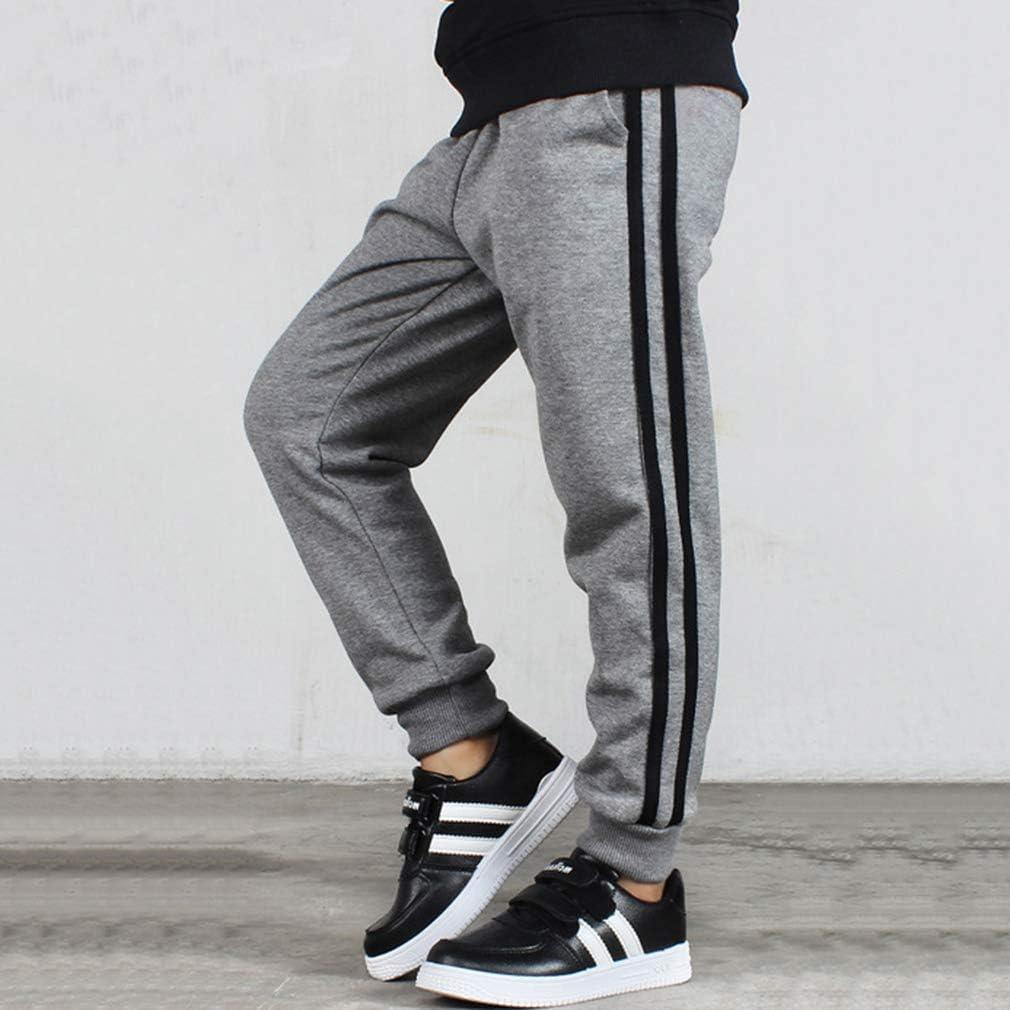 Rayas Slim Fit Joggers de Algod/ón Casual Pantalones Deportivos Cintura El/ástica con Cord/ón Pantalones Ni/ños Pantal/ón de Ch/ándal