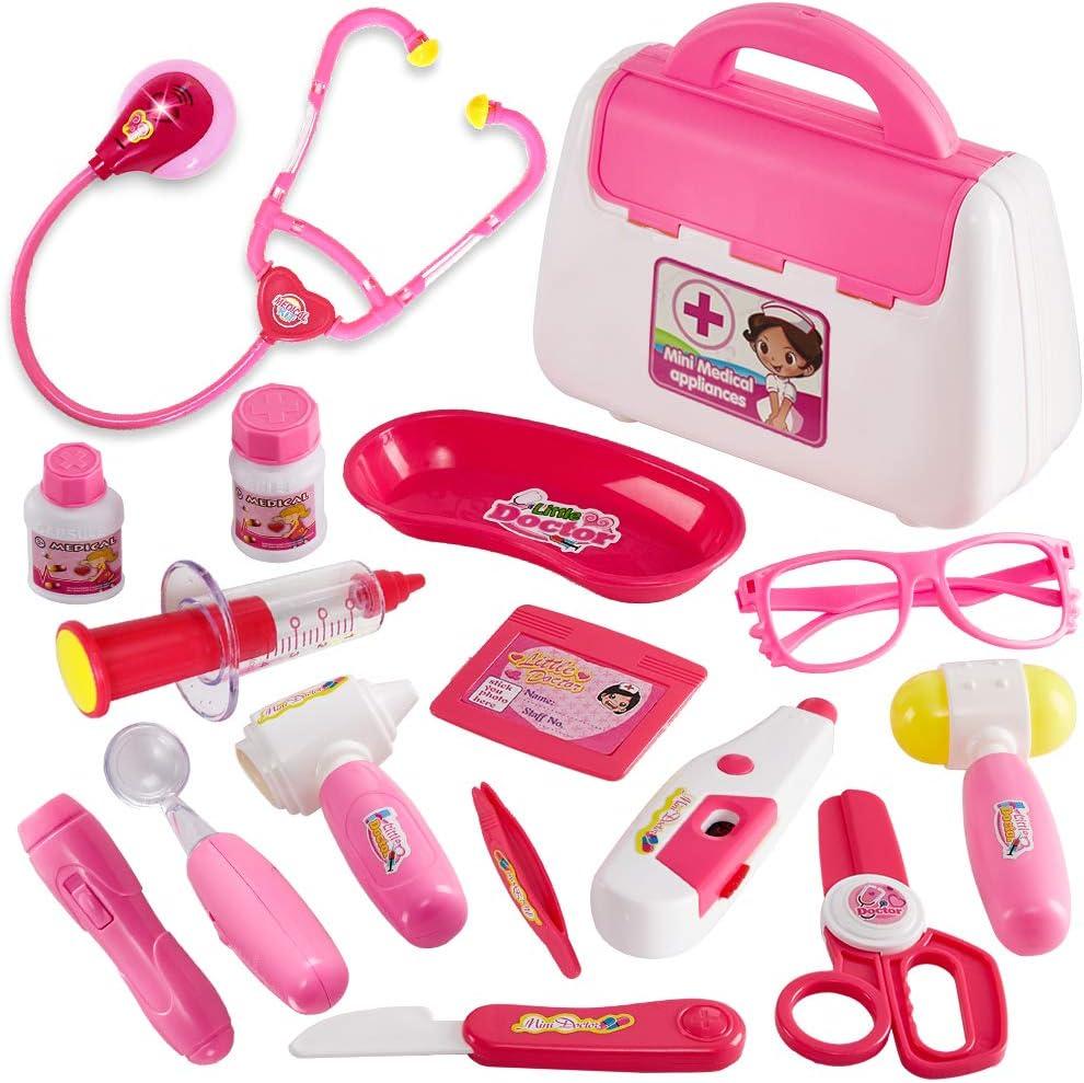 Buyger 16 Piezas Maletin Medicos Juguete Niña 3 años Enfermera Doctora Kit Luces y Sonidos Juegos de Imitación (Rosa)