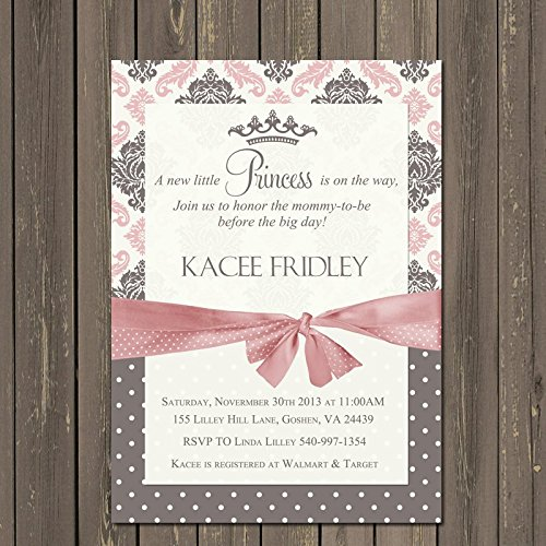 Amazon Princess Baby Shower Invitation With Damask And Digital