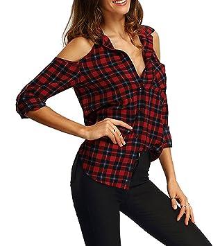 Gladiolus Camisa a Cuadros Chic Blusas Camisas Camisetas Tops Hombro Desnudo Manga Corta