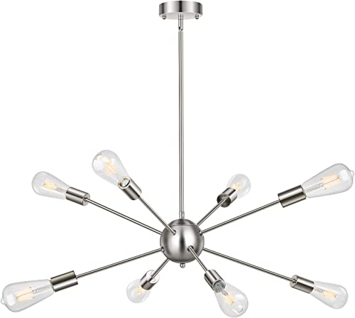 Sputnik Chandelier Lighting Industrial 8-Light Chandeliers Modern Hanging Pendant Lights Vintage Farmhouse Brushed Nickel Ceiling Light Fixture
