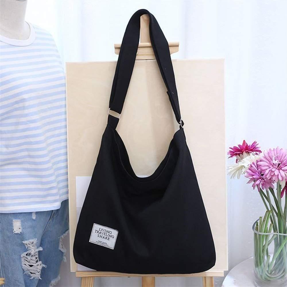 Black Women\'s Canvas Hobo Handbags Simple Casual Top Handle Tote Bag Crossbody Shoulder Bag Shopping Work Bag Crossbody Bags Women Canvas Tote Bag Canvas Messenger Bag Lightweight Crossbody Purse