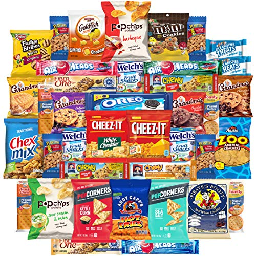 Cookies Chips & Candies Snacks Variety Pack Bulk Sampler Assortment (Care Package 40 Count)