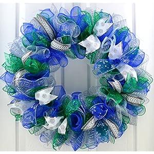 Winter Wreath | Winter Mesh Wreath | Hanukkah Wreath | Mesh Front Door Wreath | Blue Green White Silver 68