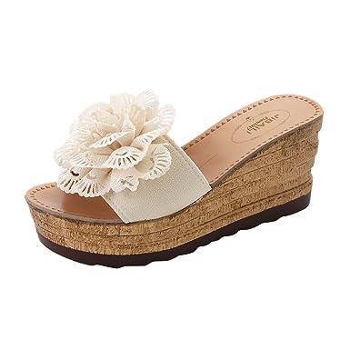 Zapatos de Cuña Mujer Verano SUNNSEAN Plataforma Color Sólido Decorado de Flores Talón Alto Zapatillas Verano Calzado de Playa Sandalias Verdes: Amazon.es: ...