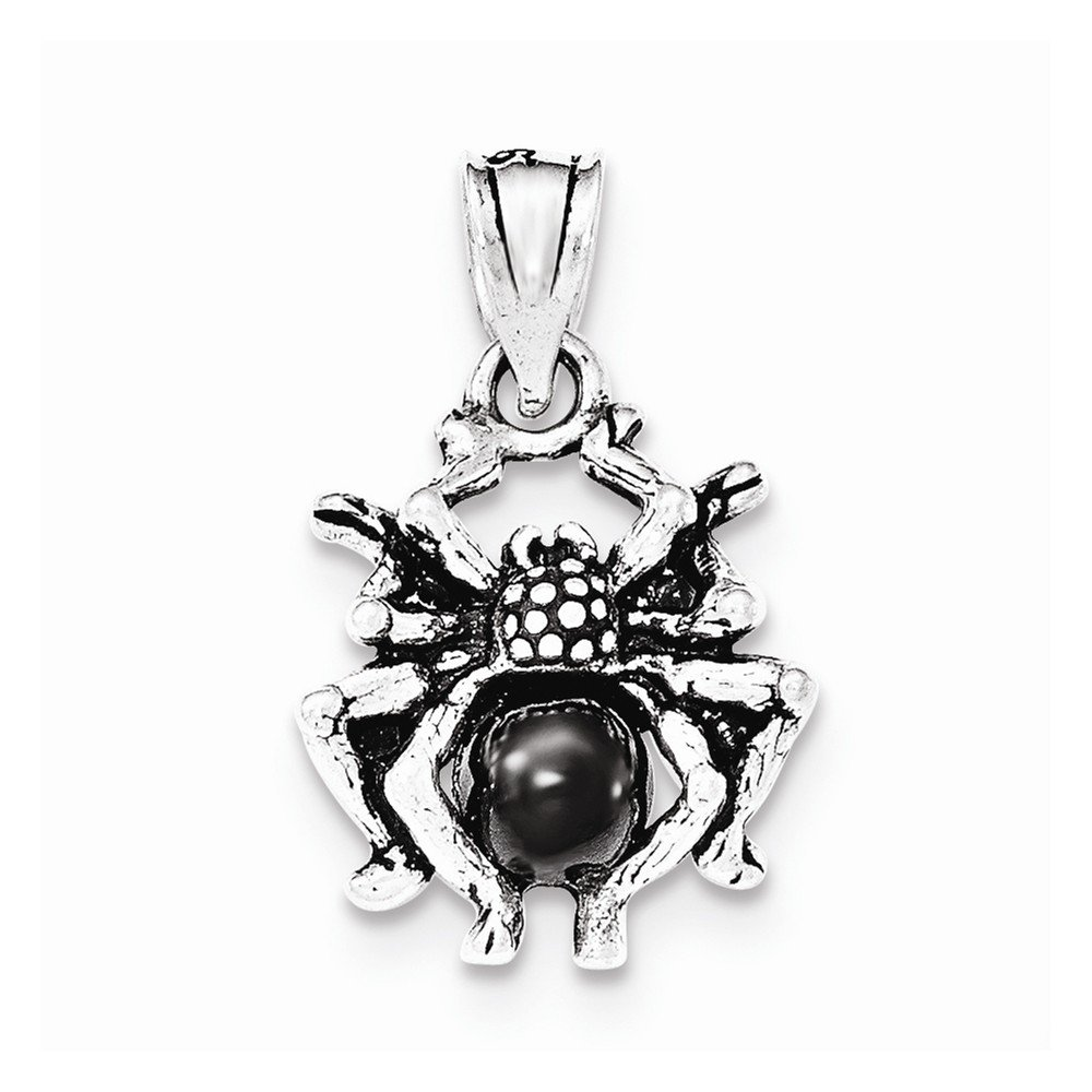 Sterling Silver Antiqued Black Glass Spider Pendant