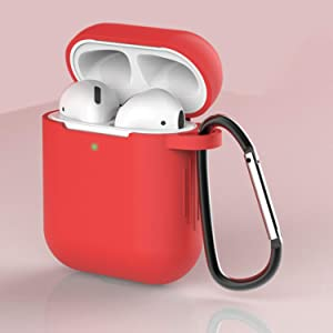AirPods Case Cover Newest Silicone Skin Cute Full Protective Case Cover with Keychain Compatible with Apple Airpods 2 & 1 Wireless Charging Case, Airpods Accesssories (Red)