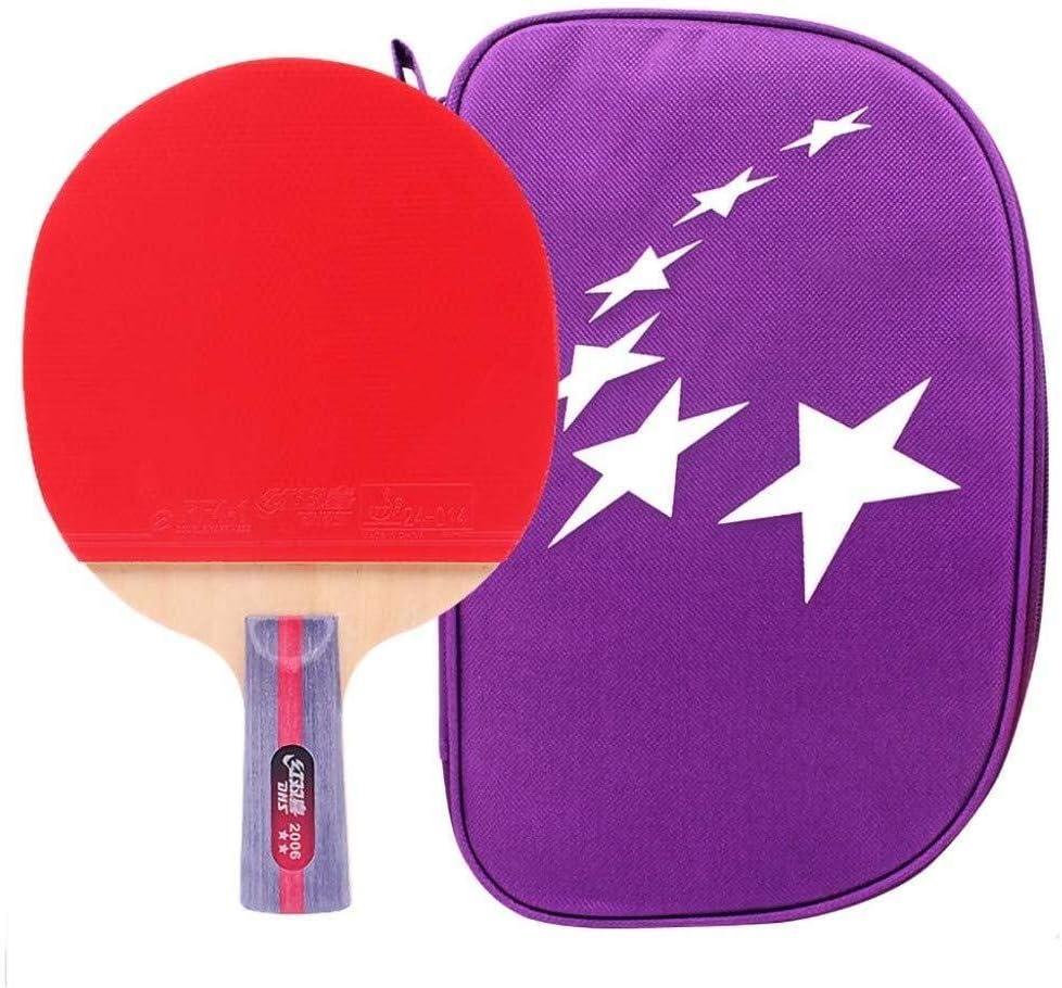 Leilims Lerten - Palas de tenis de mesa (2 estrellas), diseño clásico de goma adhesiva, ideal para estudiantes principiantes y niños, como se muestra, mango corto