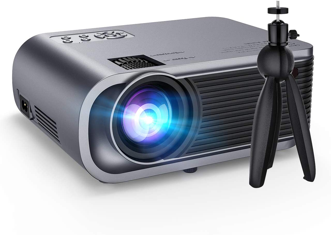 "VicTsing Mini Projector with Tripod, 720P Native Resolution 5500Lux Portable Video Projector with Noise Reduction and Hi-Fi Sound, Support 1080P and 200"" Display, Compatible with TV Stick, PS4, DVD"