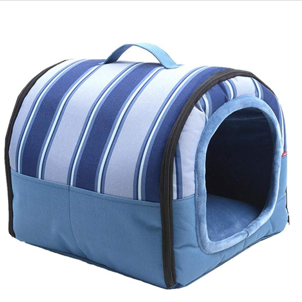 bluee Small bluee Small Pet Sofa Pet Bed Cat Kennel Kennel Cat Nest Pet Nest Dog Nest Nest and Mat Dual Use Semi-Closed Detachable Haiming (color   bluee, Size   S)