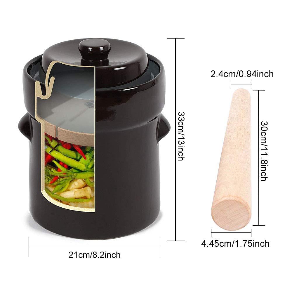 Fermentation Crock Jar 2 Liter / 0.5 Gallon - Stoneware Pot for Fermenting, Pickling Kimchi, Sauerkraut, Pickles, Vegetables, Kombucha - Glazed Fermenter with Stone Weights, Lid & Pickle Tamper by Seeutek (Image #6)