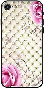 غطاء لجهاز ايفون 8 - قماش كلاسيكي وزهور وردية
