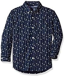 Tommy Hilfiger Little Boys\' Misha Stretch Woven Shirt, Swim Navy, 2
