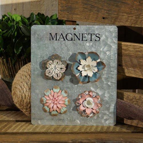 Metal Flower Magnets Set of 4
