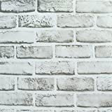 "Wallpaper Brick, Removable Self-Adhesive Contact Paper Roll for Room Decor (17.71"" x 196.85"") (White)"
