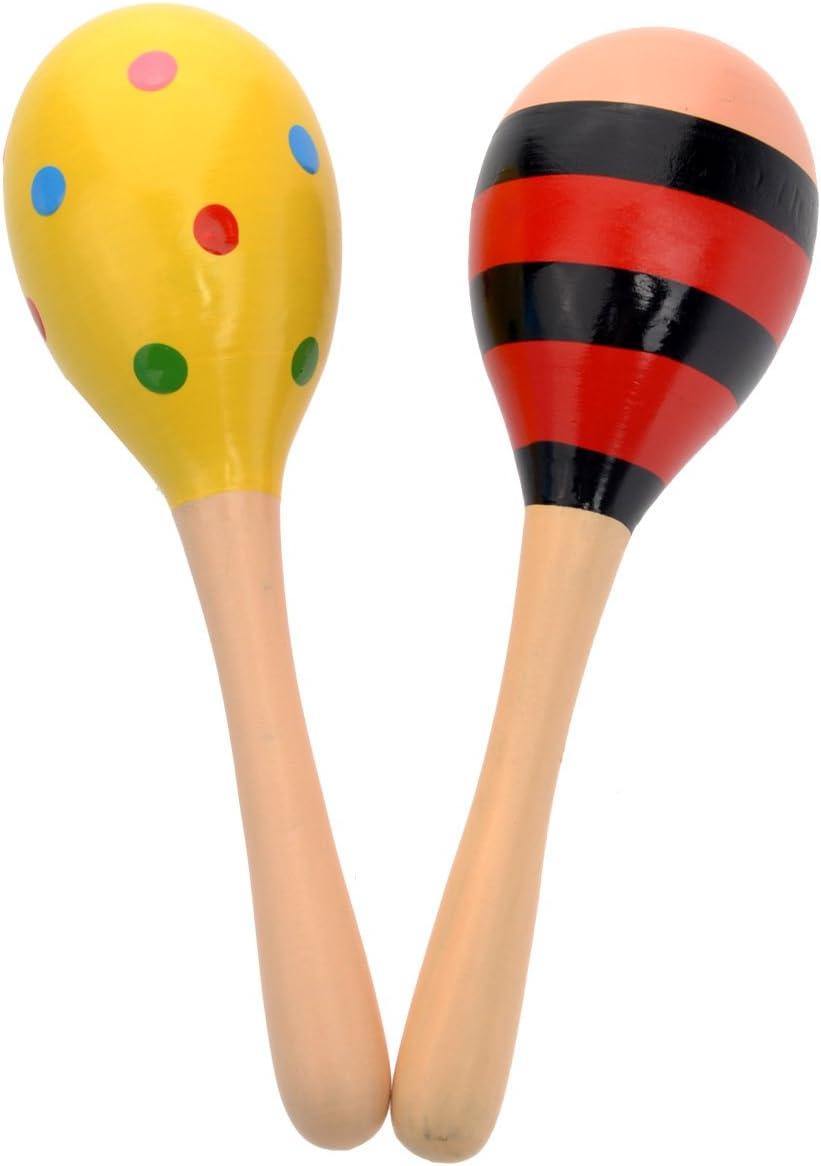 1 Paar Hand Maraca Holz Shaker Rassel für Kinder Baby Rassel Musikinstrument