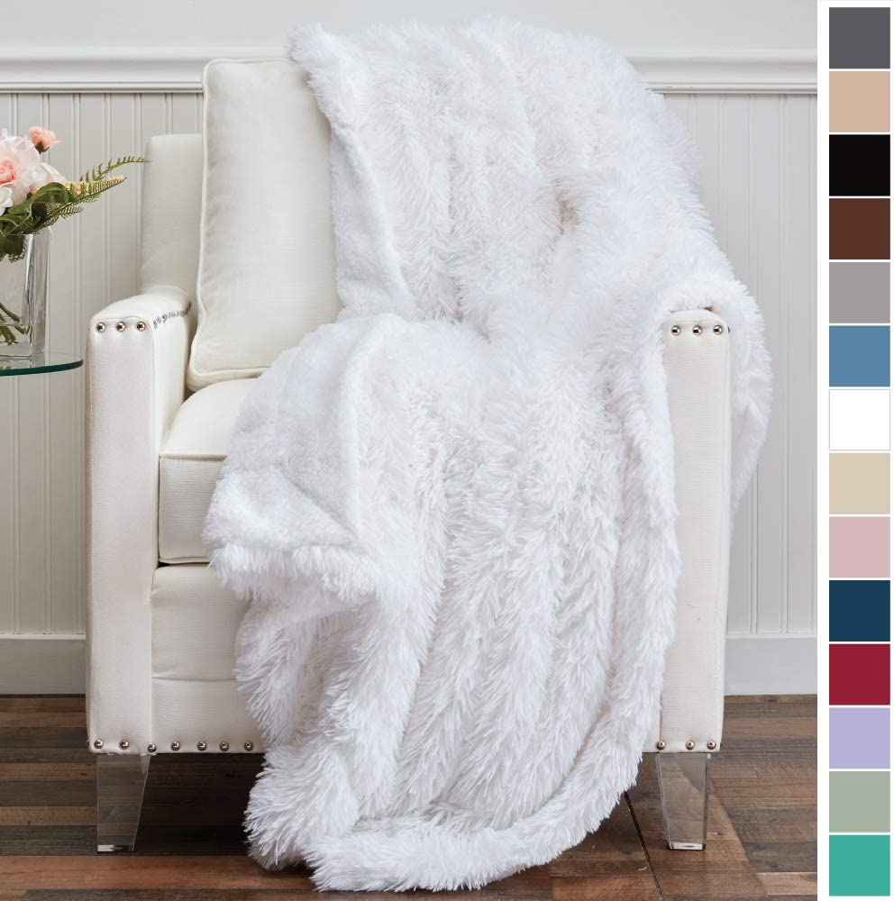 The Connecticut Home Company Shag with Sherpa Reversible Throw Blanket, Super Soft, Large Plush Wrinkle Resistant Blankets, Warm and Hypoallergenic Washable Couch or Bed Throws, 65x50, White