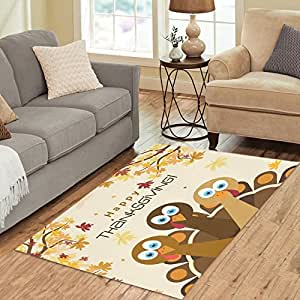 "InterestPrint Home Decoration Happy Thanksgiving Turkey Area Rug Carpet 5'x 3'3"", fall leaves Modern Carpet Floor Mat Rugs for Children Kid Playroom Bedroom"