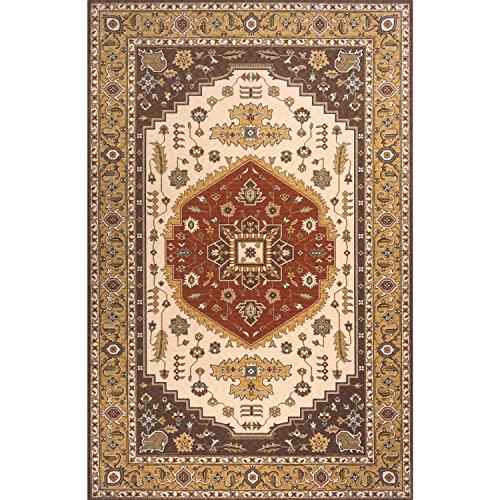 Momeni Persian Garden Cocoa NZ Wool Rug (9'6 X 13') - 9'6 x 13' Teal Blue Cocoa Persian Garden
