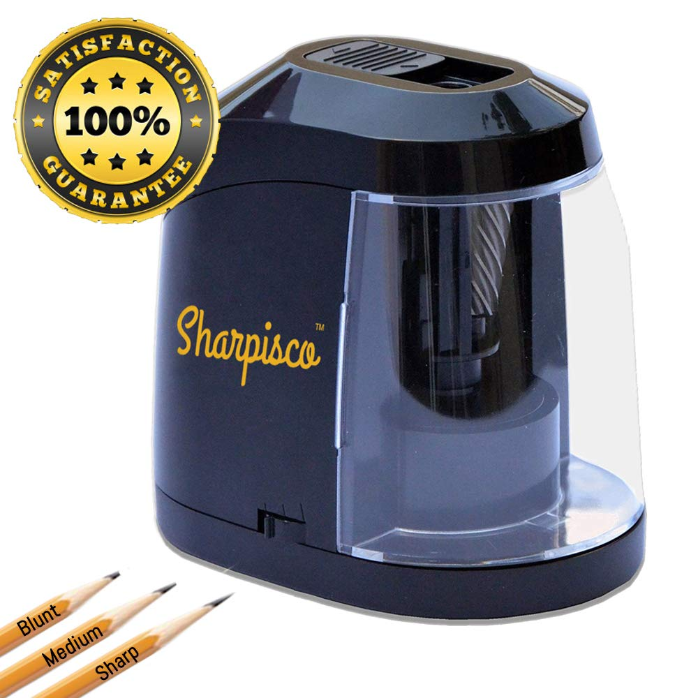 SharpiscoTM Electric Pencil Sharpener Best Compact Heavy Duty - For School, Home and Office - Batteries USB or AC adapter - Helical Blade for Fast Sharpen - Autostop - 3 Sharpening Settings