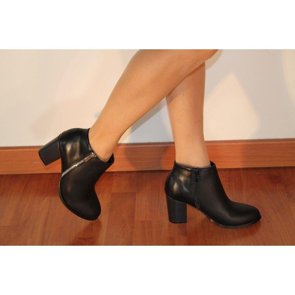 Stivali con Tacco 8cm bi Materiale Nero Basso 40: Amazon