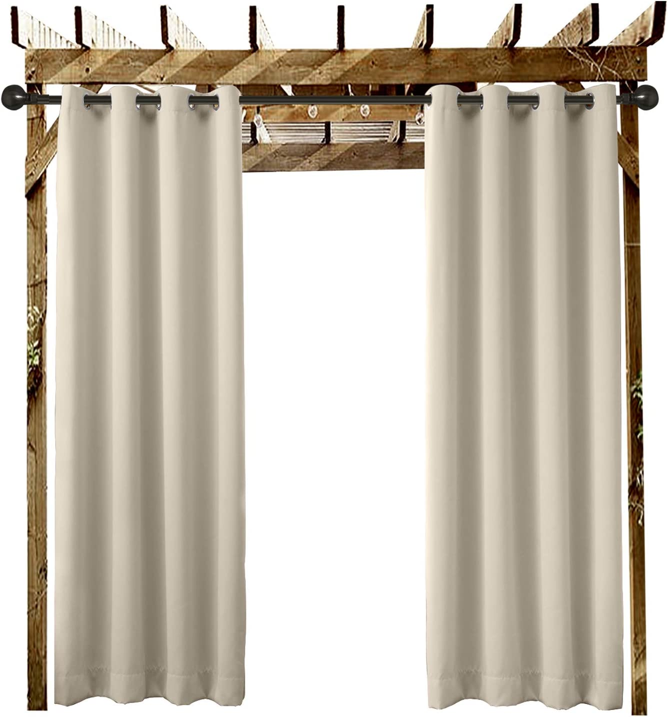 Outdoor Curtain Grommet Eyelet Beige 120 W x 84 L For Front Porch Pergola Cabana Dock Covered Patio . and Beach Home 1 Panel Gazebo