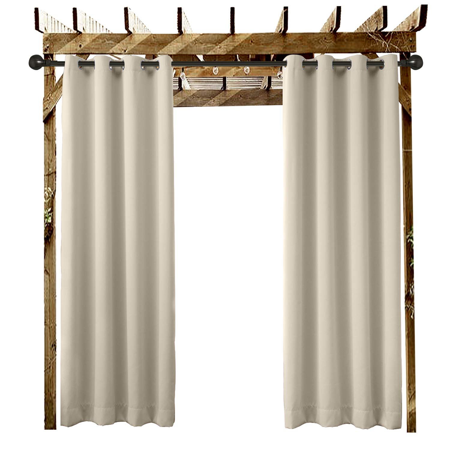 ChadMade Outdoor Waterproof Curtain Beige Extra Wide 120'' W x 96'' L Grommet Eyelet in Front Porch Pergola Cabana Covered Patio Gazebo Dock and Beach Home (1 Panel)