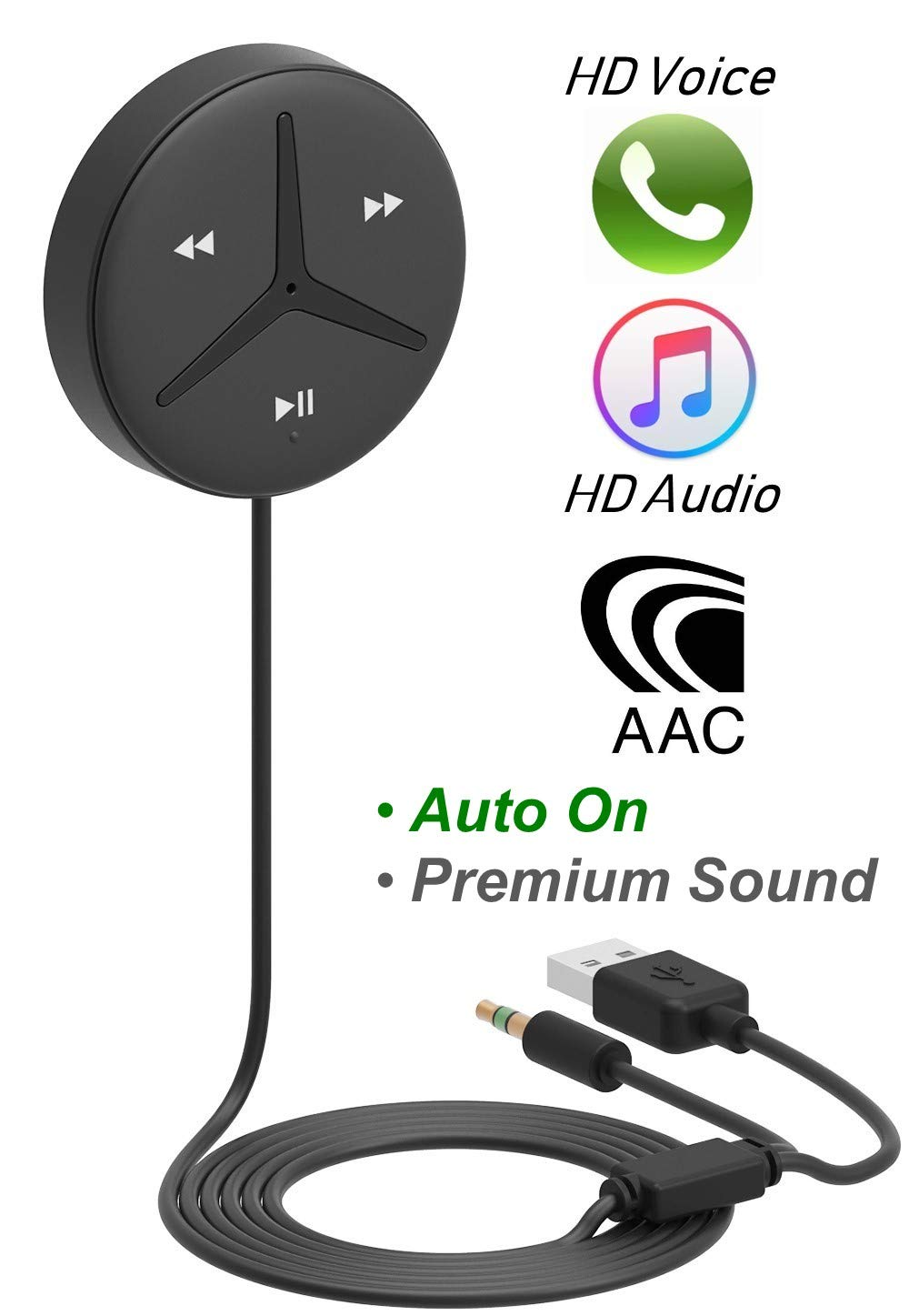 [2019 All-New] Aston SoundTek A1+,Excellent Sound,Support AAC Codec, Auto On,Aux Bluetooth Car Kits,Bluetooth Receiver,Voice Assistant, Car Handsfree Calls, Music Stream for Car Audio