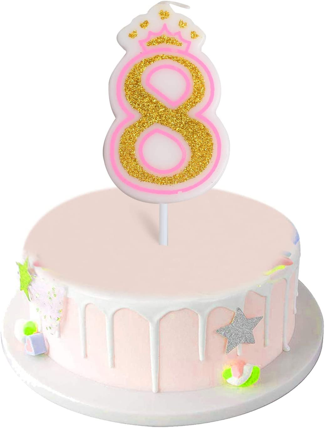 Phenomenal Amazon Com Anyi16 Number 8 Giltter Candle Number 0 9 Birthday Funny Birthday Cards Online Eattedamsfinfo