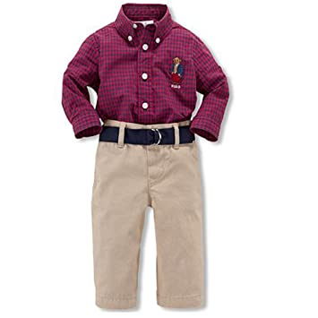 5cc9a58f6 Image Unavailable. Image not available for. Color: Ralph Lauren Polo Boys  Plaid Bear Shirt & Chino Pants Belt Set 12 Months