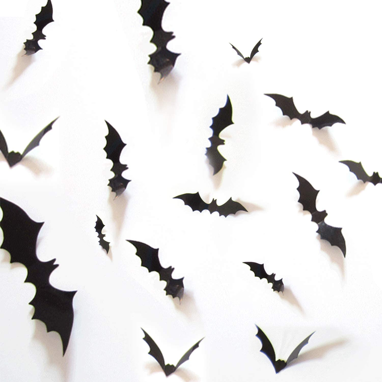 W&O DIY Halloween Party Supplies PVC 3D Decorative Scary Bats Wall Decal Wall Sticker, Halloween Eve Decor Home Window Decoration Set, 36pcs, Black