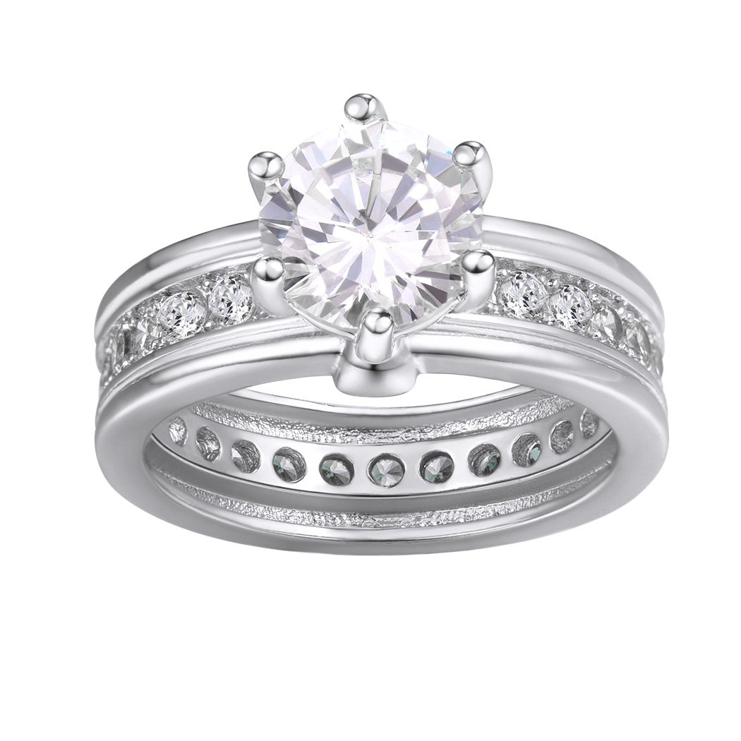 6 Prong Engagement Ring/Round Cut Cubic Zirconia Solitare Ring/White Gold Plated Crystal Eternity Ring Size 11